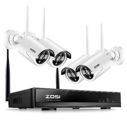 ZOSI 960P CCTV Seguridad de Sistema 4 Canales NVR Inalámbrico con 4 Cámaras sin Disco Duro