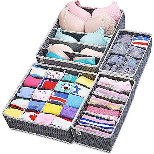 Closet Underwear Organizer Drawer Divider 4 Set by MIUCOLOR for Underwear, Bras, Socks, Ties, Scarves, Grey (Underwear Socks And)