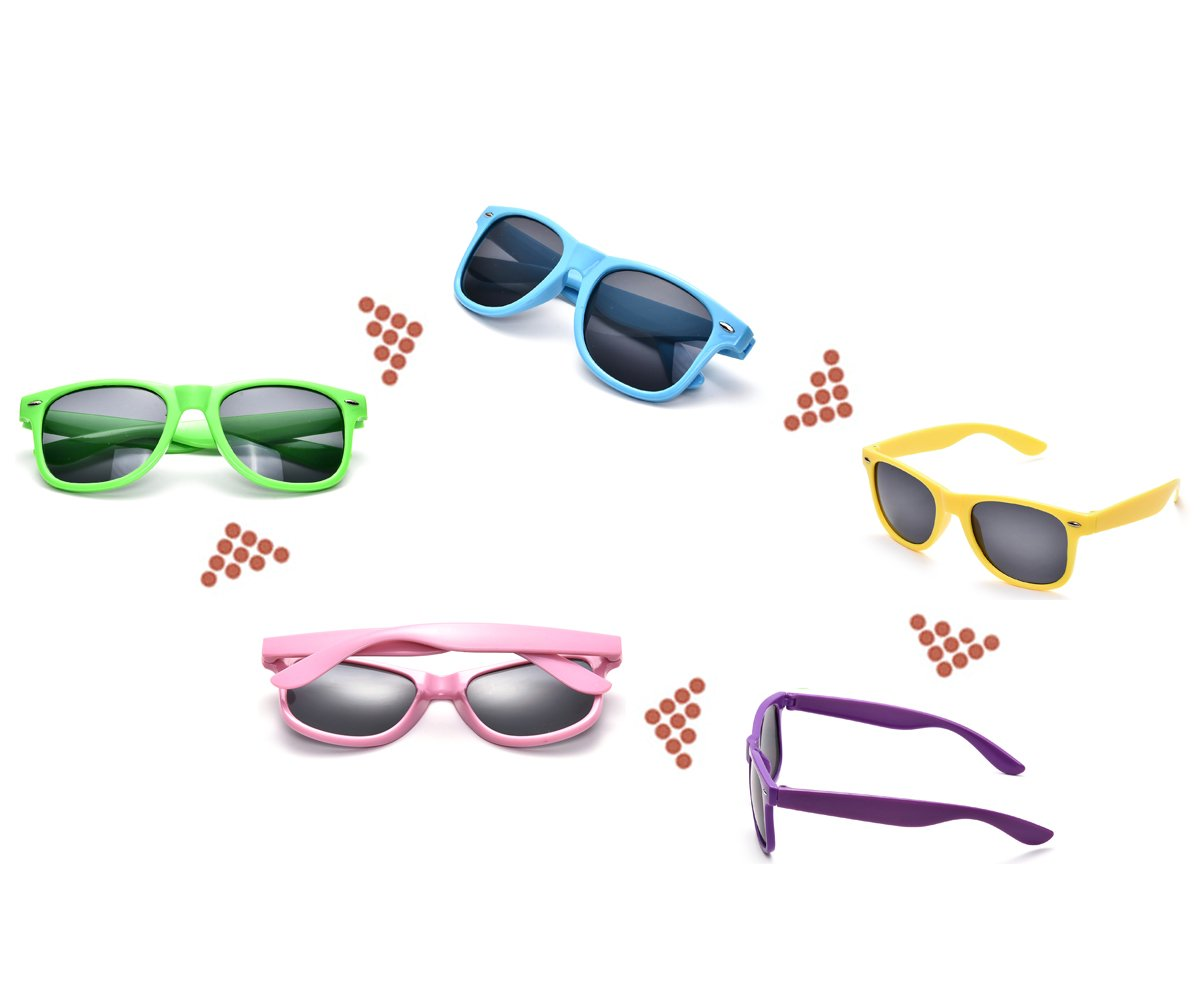 Neon Colors Party Favor Supplies Unisex Sunglasses Pack of 8 for Kids (8 Pack Mix) by Pibupibu (Image #4)