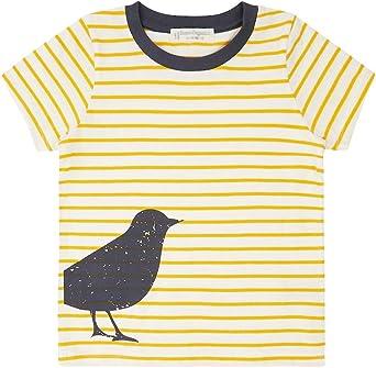 Camiseta infantil amarilla, diseño curvado, biológica, talla 116: Amazon.es: Ropa y accesorios