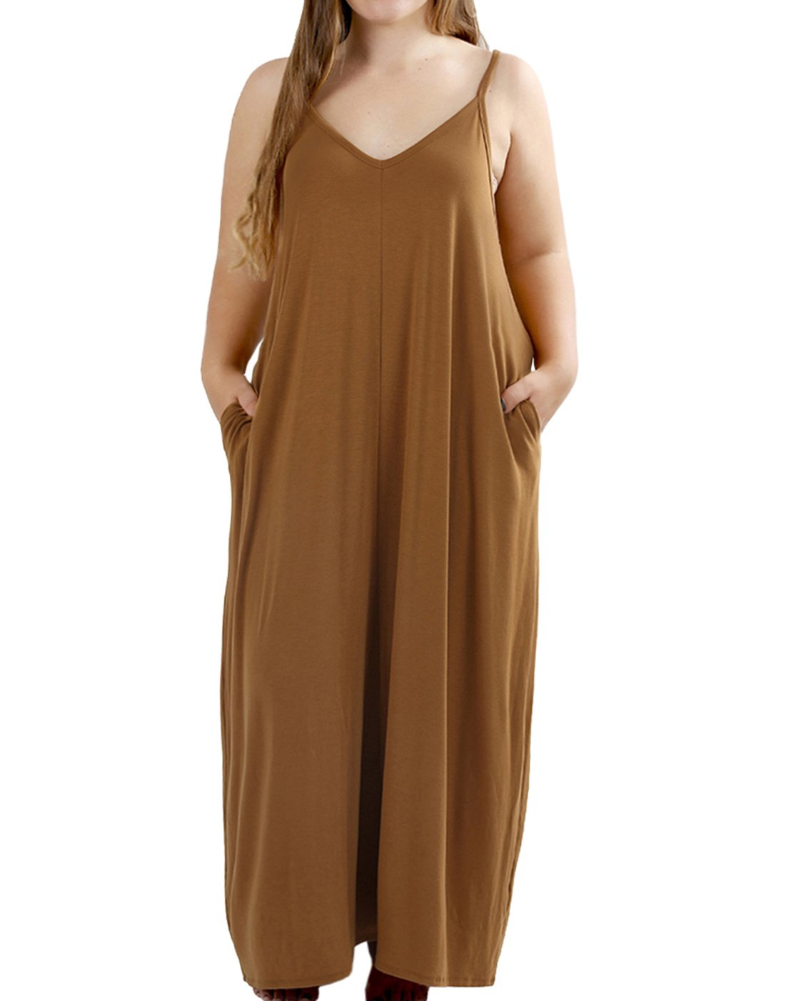 Rotita Women V Neck Sleeveless Loose Plus Size Maxi Dresses with Pockets,Coffee,5X,Coffee,5X