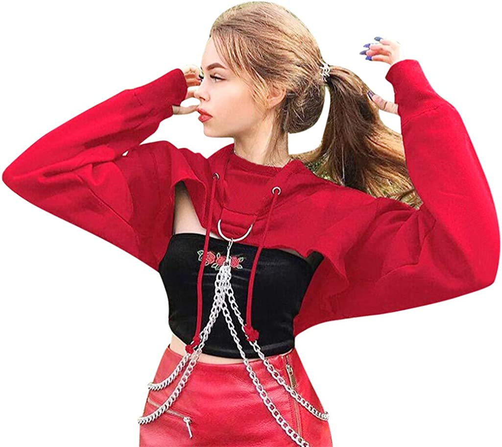 Sudaderas con Capucha para Mujer Tumblr Cortos Otoño 2019 PAOLIAN Sudaderas Deportiva Invierno Adolescentes Chica Moda con Cadena Camisetas Manga Largas para Mujer Casual