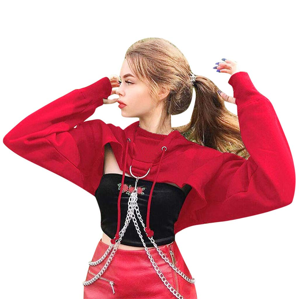 Inverlee Blouse Women's Cosplay Hoodie Punk Wind Ring Buckle Chain Hooded Sweatshirt Pullover Red
