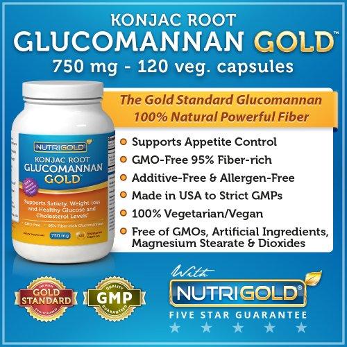 Glucomannan GOLD, fibre de racine de konjac pour perte de poids, 750mg, 120 capsules végétariennes