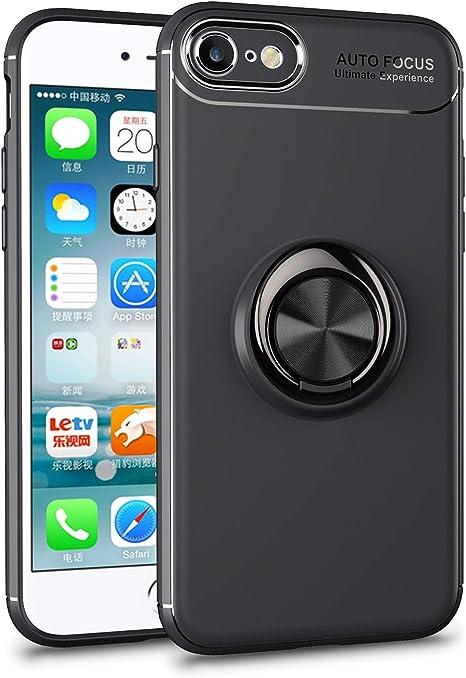 Yobby Cover per iPhone 7,Cover iPhone 8,Custodia con 360 Gradi Rotazione Anello Posteriore Supporto Magnetico Auto,Ultra Sottile Opaca Silicone ...