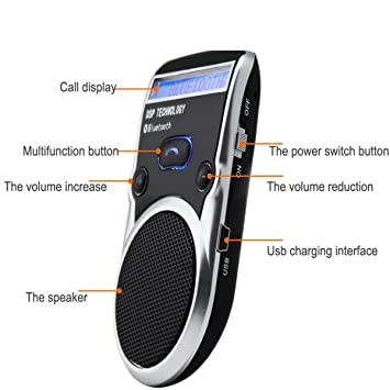 Kit de manos libres para coche DSD TECH, dispositivo de apoyo con agenda y función TTS, Negro, Solar, Pantalla LCD