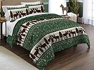 Destinations Moose Fairisle Full/Queen Comforter Set, Green