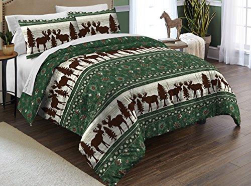 Green Moose (Destinations Moose Fairisle Comforter Set, Full/Queen, Green)