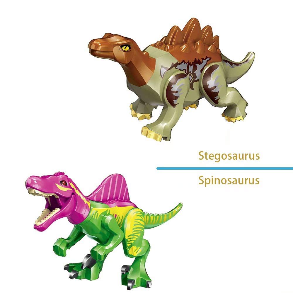 LTCtoy 8pcs Dinos Toy,Buildable Dinosaur Building Blocks Figures with Movable Jaws,Including T Rex, Velociraptor,Pterosauria, etc