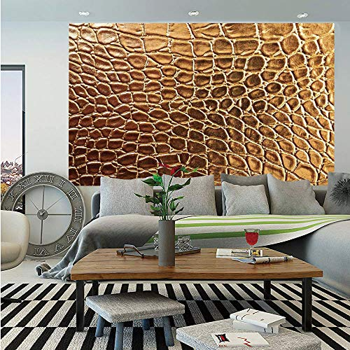 SoSung Animal Print Decor Wall Mural,Tint Golden Crocodile Skin Nature Life Toughness High End Design Artwork,Self-Adhesive Large Wallpaper for Home Decor 55x78 inches,Gold ()