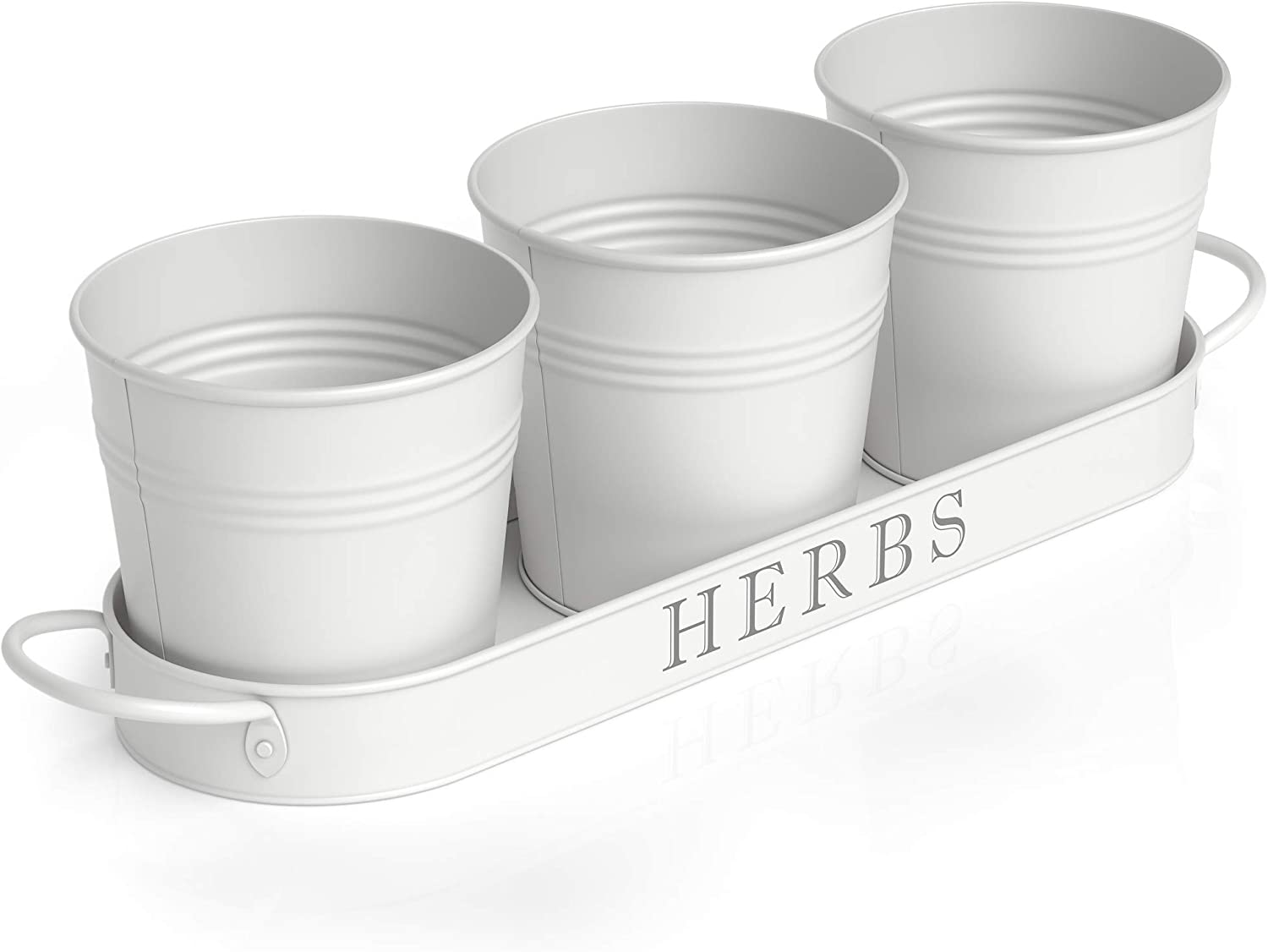 Herb Pot Planter Set with Tray for windowsill herb Garden