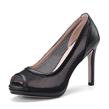ef986aefc04 Amazon.com  High Heels 10cm Peep Toe Black White Clear Mesh Pumps ...