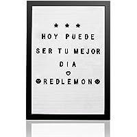 Redlemon Pizarrón y Letrero de Madera Vintage, de Letras Intercambiables (340 Letras, Números, Signos y Emojis). Con…