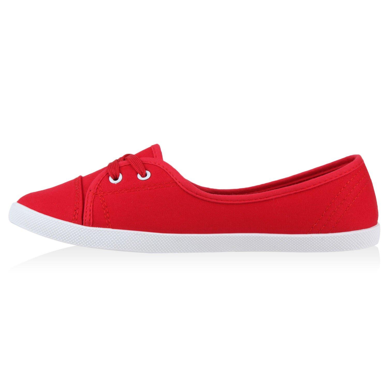 Stiefelparadies Damen Rot Sportliche Ballerinas Basic Flandell Rot Damen 9e794a