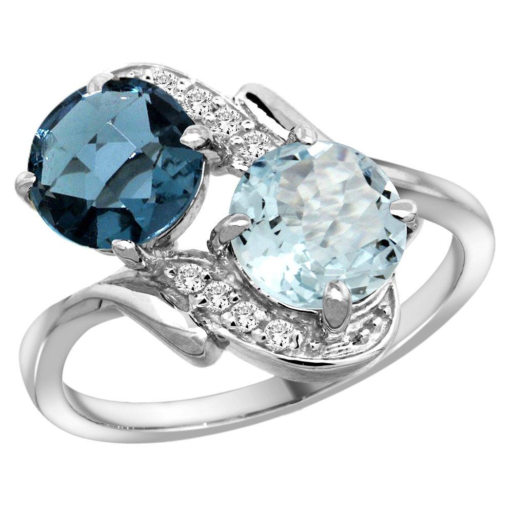 10K White Gold Diamond Natural London Blue Topaz & Aquamarine Mother's Ring Round 7mm, size 6.5