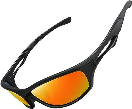 Óculos de Sol Esportivo Polarizado para Masculino Femininos UV400 Proteção Ciclismo Dirigir Armação Inquebrável Joopin Óculos de Sol para Homens e mulheres (Lente Espelhada Vermelha)