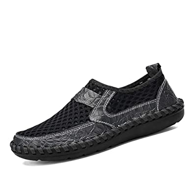 Formal Shoes Men's Shoes Fine Zero Summer Breathable Mesh Shoes Mens Casual Shoes Genuine Leather Slip On Brand Fashion Summer Shoes Man Soft Comfortable