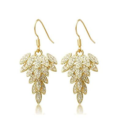 bd455fbf3120 Lily Jewelry Fashion Sparkly Gold Plated Feather Bling Swarovski Elements Crystal  Drop Earrings for Women  Amazon.co.uk  Jewellery