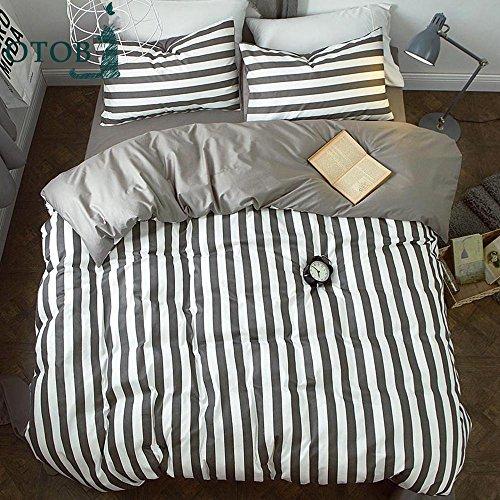ORoa Striped Boys Queen Duvet Cover Sets Black and White 3 Piece Kids Bedding Set Full Size for Teens Men Girls with 2 Pillow Shams (Queen/Full, Style 2) Gingham Duvet Set