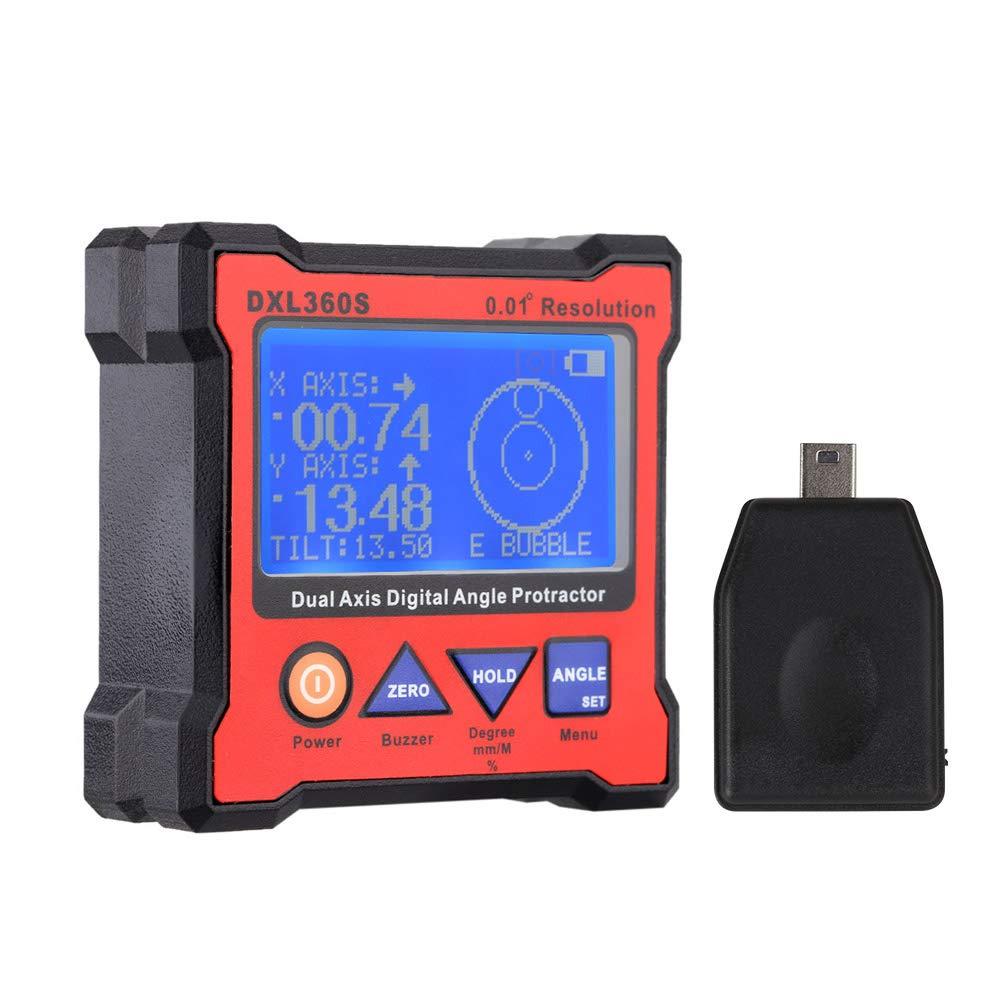 Walmeck DXL360S Goniometro angolare digitale a doppio asse con 5 magneti laterali di precisione Indicatore di livello del display digitale a doppio asse ad alta precisione