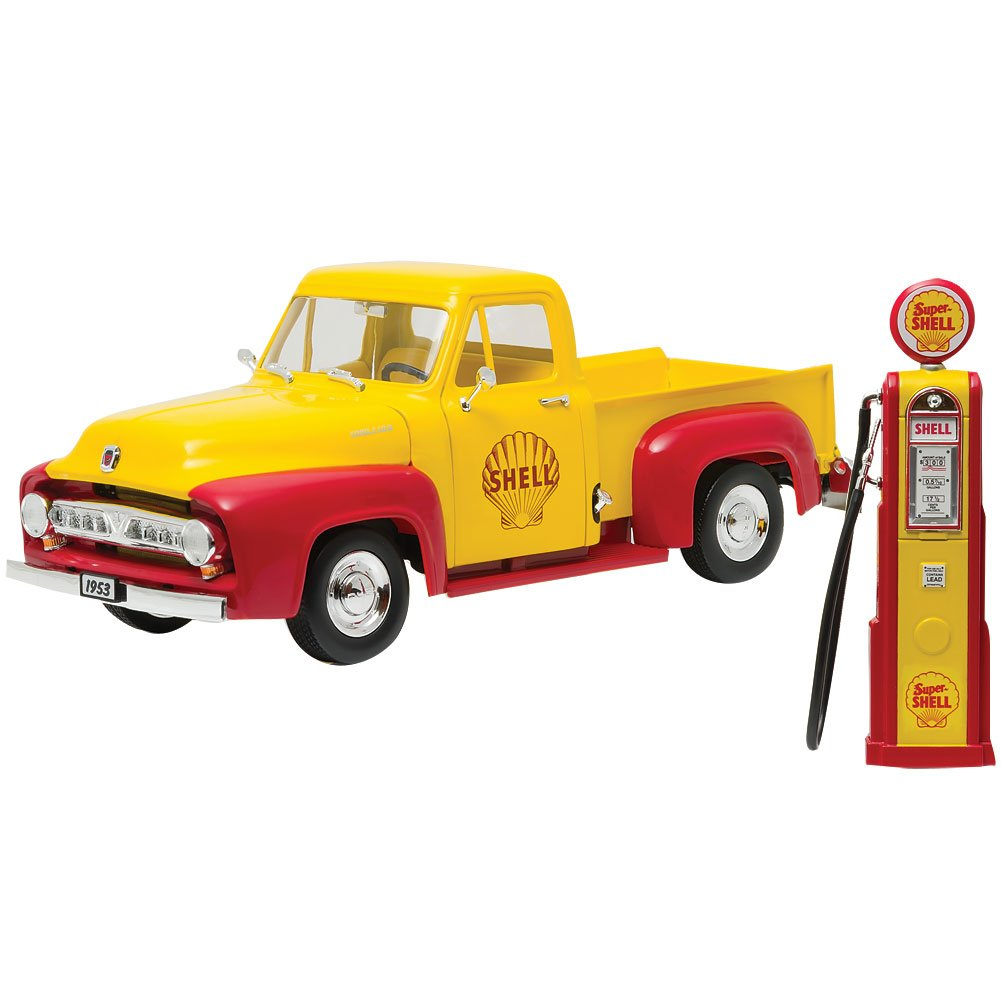 1953 Ford F-100 Pickup Truck Shell Oil with Vintage Gas Pump 1/18 Model Car by Greenlight B01MQSYQ8R