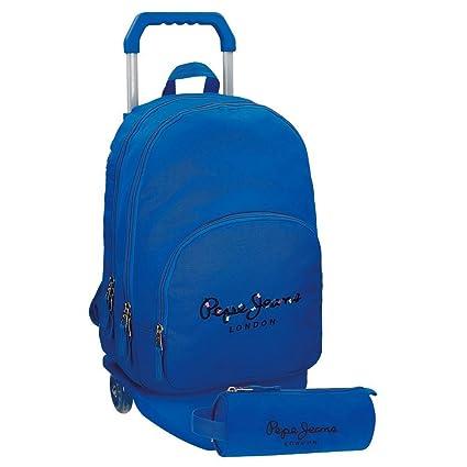 Mochila Pepe Jeans Harlow Azul doble compartimento con carro