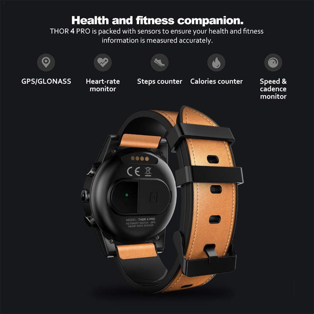 Rundaotong-US 4G SmartWatch, Zeblaze Thor 4 PRO,1.6 Inch Crystal Display GPS/GLONASS Quad Core 16GB 600mAh Hybrid Leather Straps Smart Watch with ...