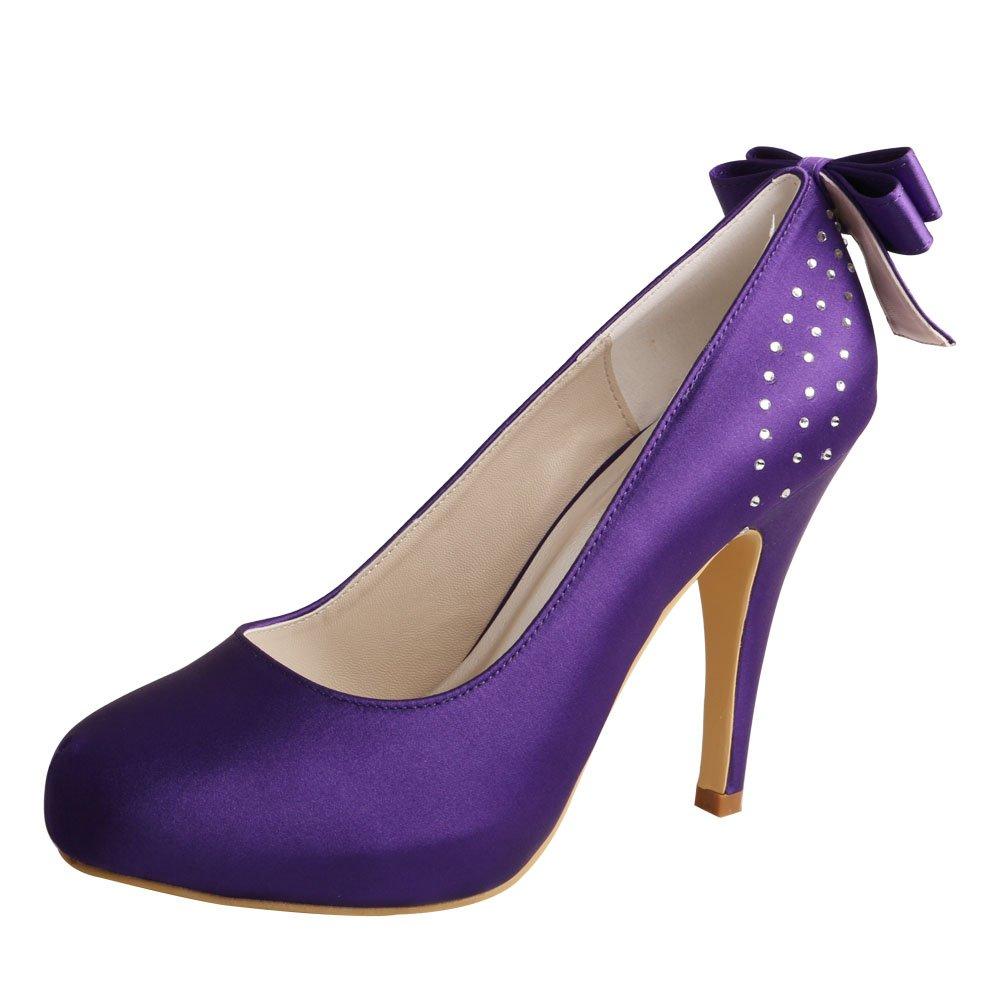 Wedopus MW100 Women's Back Bows Closed Toe High Heel Satin Purple Bridal Wedding Shoes Size 8 Purple