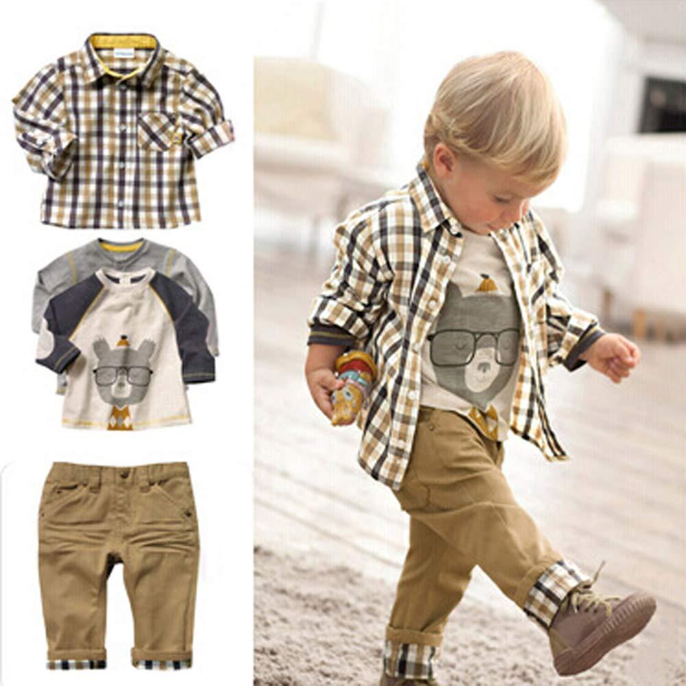 ggudd Baby Boys Plaid Tops and Koala Printed Shirt and Pants Casual 3pcs Clothes Sets
