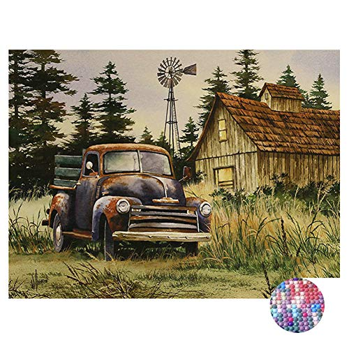 LIPHISFUN DIY 5D Diamond Painting by Number Kit for Adult, Full Round Resin Beads Drill Diamond Embroidery Dotz Kit Home Wall Decor,30x40cm,Vintage car Cottage