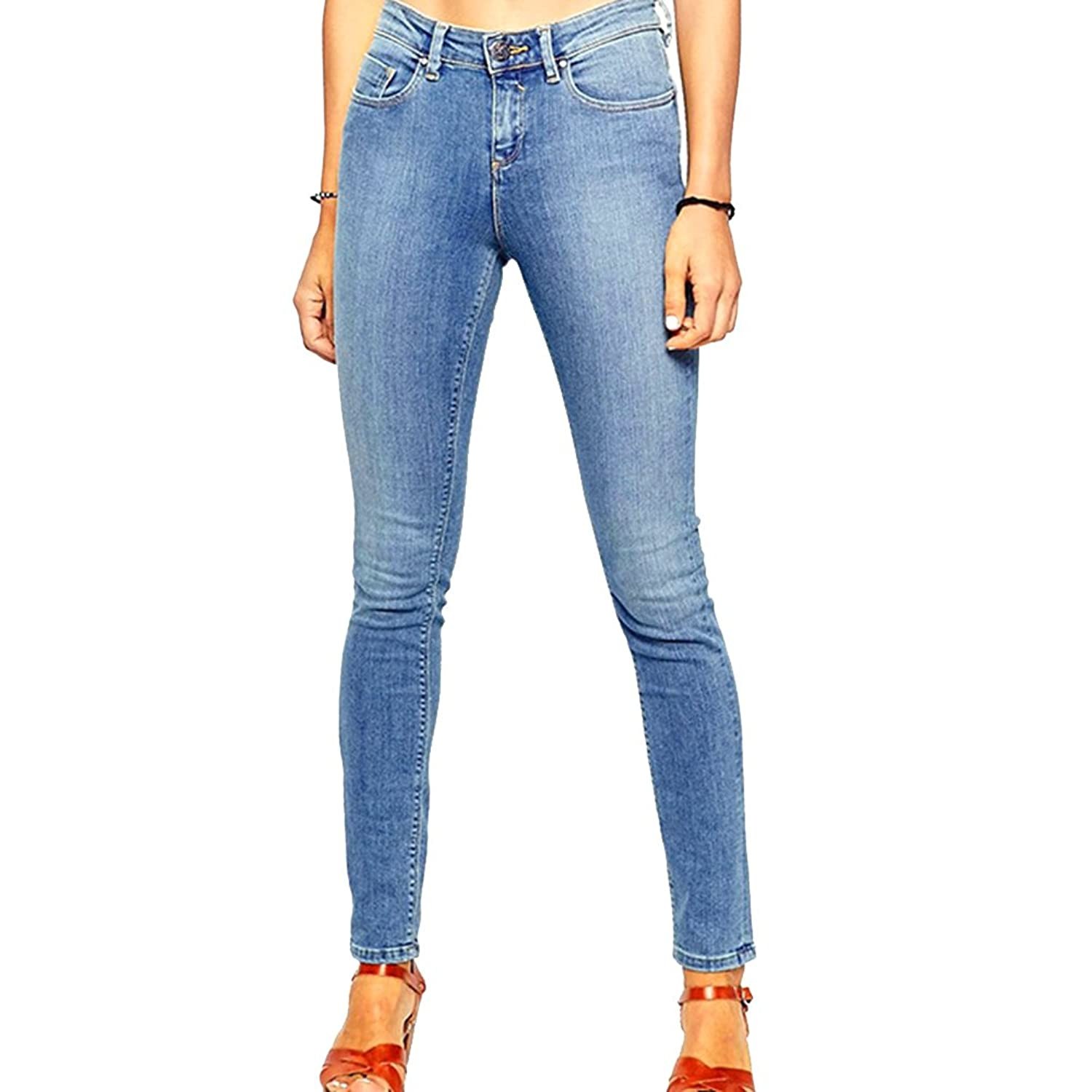 Haogo Womens Mid Rise Stretch Denim Pencil Jeans