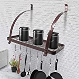 Cosway Pot Rack Wall Mount Kitchen Wall Shelf Pot Storage Hanging Rack with Hook Cookware Utensils Pan Organizer (Copper)