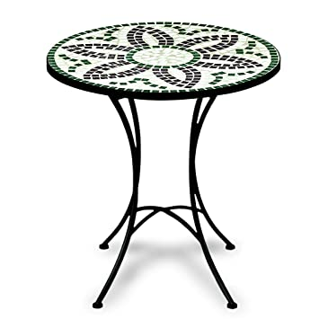 Table guéridon mosaïque et fer forgé Diamètre 60cm FLORA Meuble ...