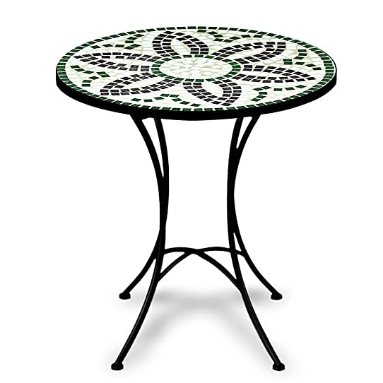 Table Guéridon Mosaïque Et Fer Forgé Diamètre 60Cm Flora Meuble