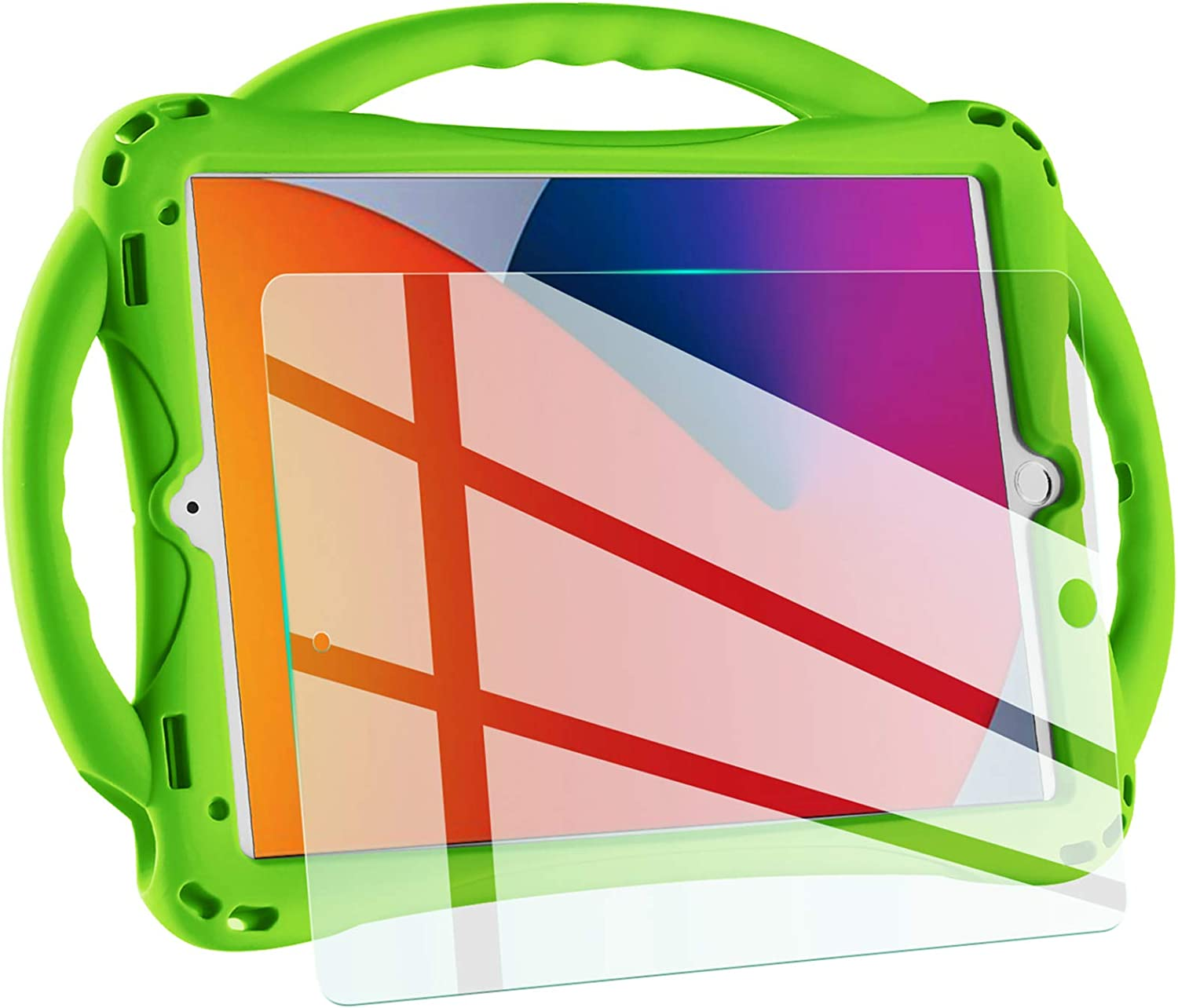 TopEsct Kids case for New ipad 10.2 2020/2019, iPad 8th/7th Generation Case for Kids,with Tempered Glass Screen Protector and Strap,Premium Silicone Shockproof ipad 10.2