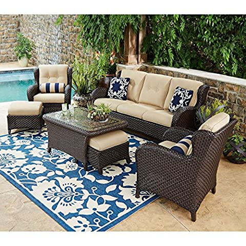 Outdoor Patio Furniture, Deep Seating Set with Premium Sunbrella® Fabric 6 Pcs Wicker Deck Pool All Weather - Classic Collection Adirondack Deck Chair