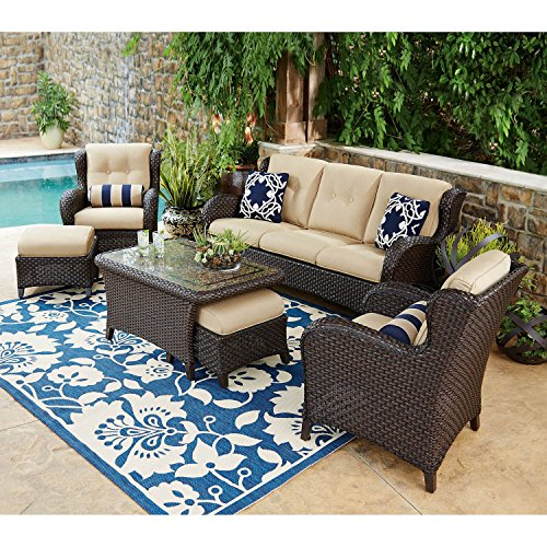 Outdoor Patio Furniture, Deep Seating Set with Premium Sunbrella® Fabric 6 Pcs Wicker Deck Pool All Weather Set