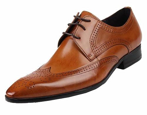 Jsix Zapatos de Vestir para Hombre Con Cordones De Cuero Brogues (37, Marrón)
