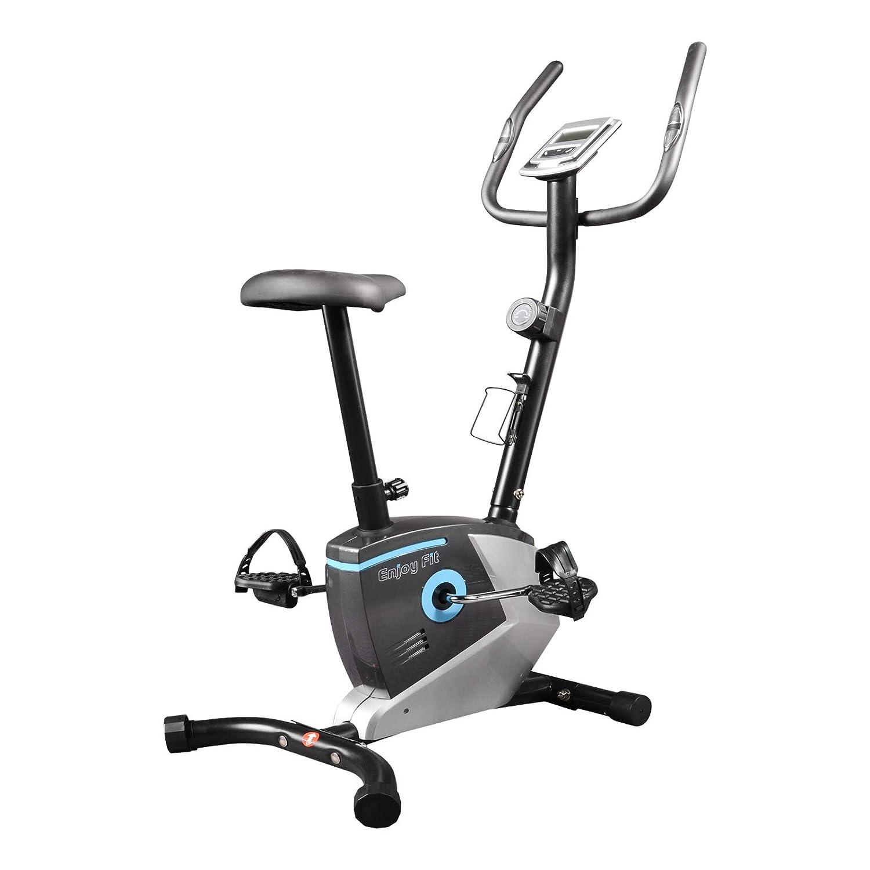 EnjoyFit Heimtrainer Fahrradtrainer mit Handpuls-Sensoren silber blau