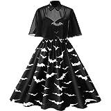 Reooly Mujeres Retro Halloween XL Solapa de Malla Bat Blanco y Negro Estampado 50s ama de casa Fiesta Vestido de Fiesta