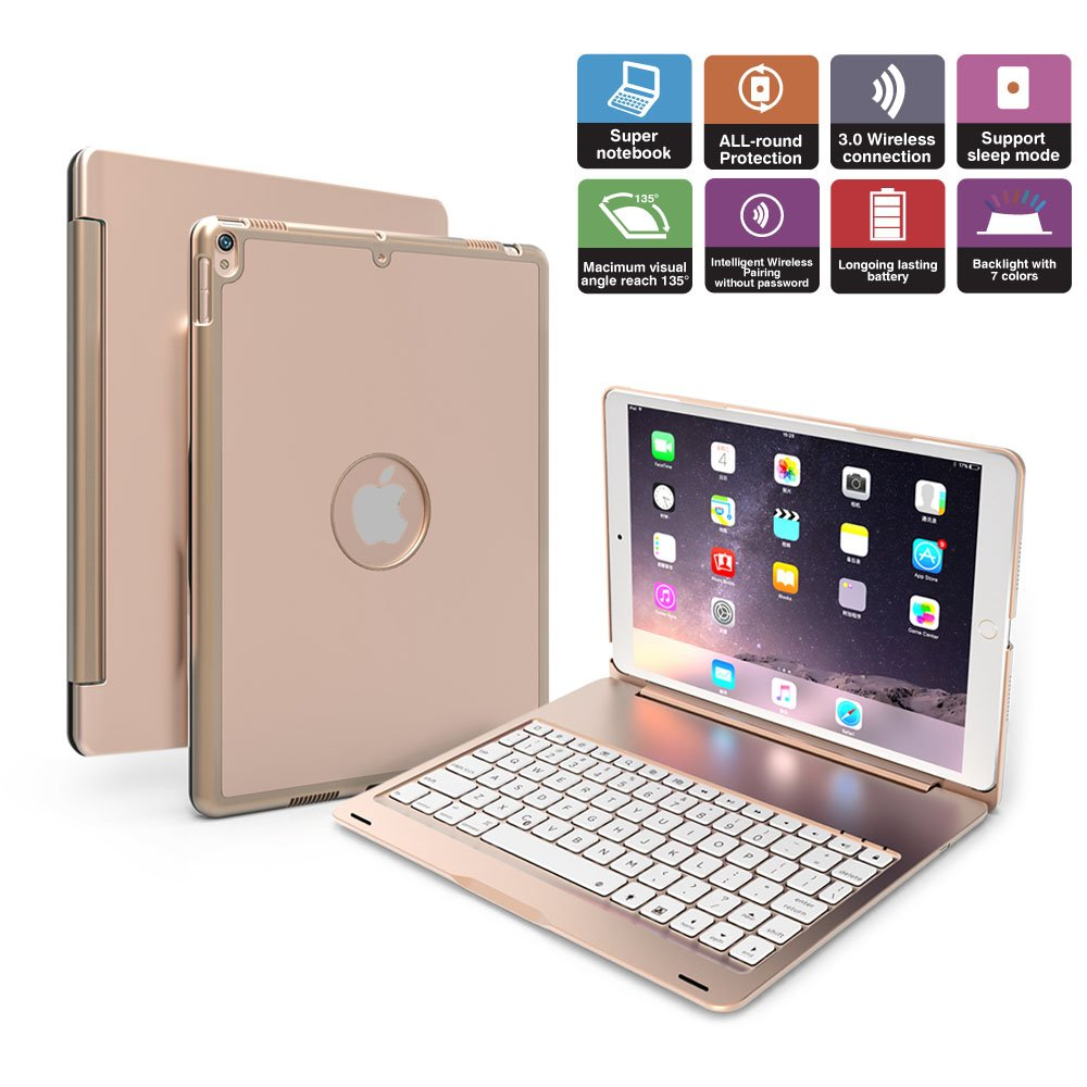 iPad Pro 10.5 Keyboard Case  Penban Wireless Bluetooth 135° Rotatable Aluminum Shell Smart Folio Keyboard Case Cover with 7 Colors Backlit for Apple iPad Pro 10.5 inch (Gold) penban F105
