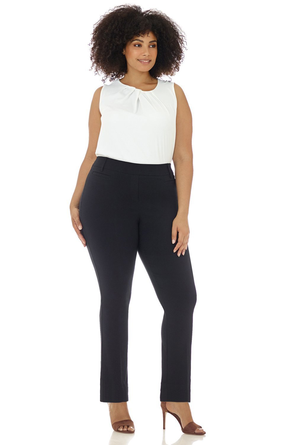 Rekucci Curvy Woman Ease in to Comfort Straight Leg Plus Size Pant w/Tummy Control (18W,Black) by Rekucci (Image #1)