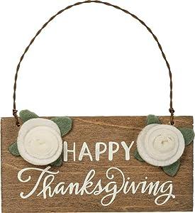 Primitives by Kathy PBK Fall Decor - Happy Thanksgiving Wood Felt Flower Ornament Sign