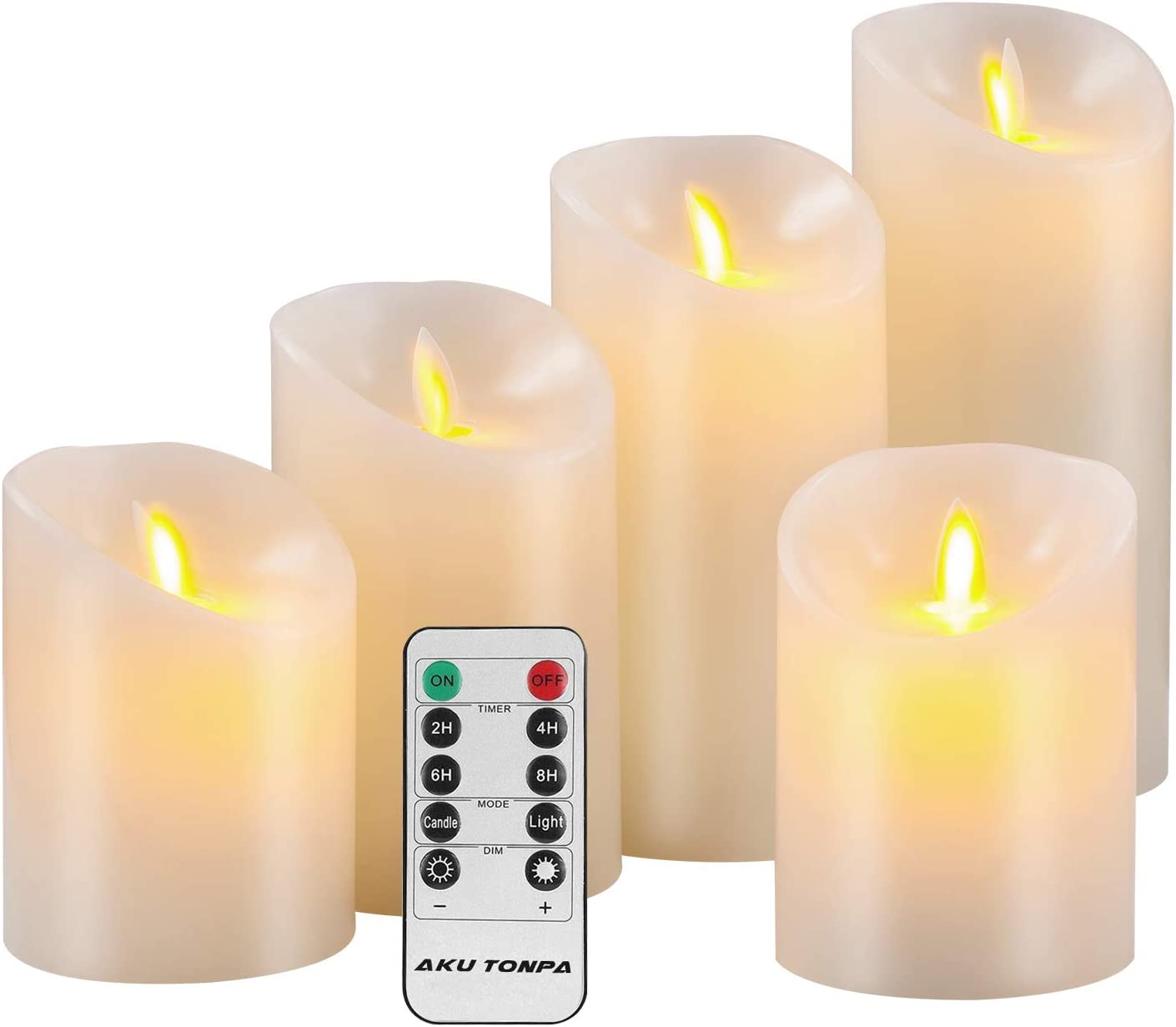 "Aku Tonpa Flameless Candles Battery Operated Pillar Real Wax Electric LED Candle Gift Sets with Remote Control Cycling 24 Hours Timer, 4"" 4"" 5"" 6"" 7"" Pack of 5"