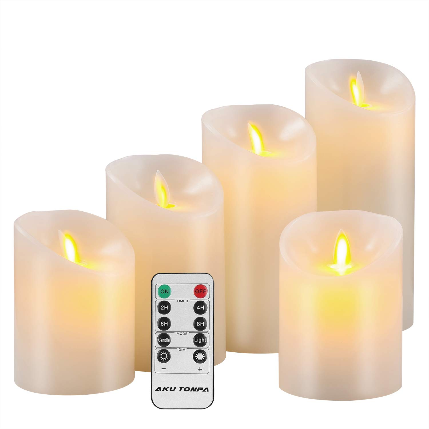 Aku Tonpa Flameless Candles Battery Operated Pillar Real Wax Flickering Moving Wick Electric LED Candle Gift Sets with Remote Control Cycling 24 Hours Timer, 4'' 4'' 5'' 6'' 7'' Pack of 5 by Aku Tonpa