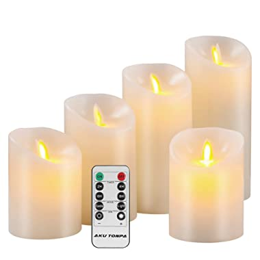 Aku Tonpa Flameless Candles Battery Operated Pillar Real Wax Flickering Moving Wick Electric LED Candle Gift Sets with Remote Control Cycling 24 Hours Timer, 4  4  5  6  7  Pack of 5