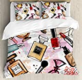 Ambesonne Girls Duvet Cover Set by, Cosmetic and Makeup Theme Pattern with Perfume Lipstick Nail Polish Brush Modern Lady, 3 Piece Bedding Set with Pillow Shams, Queen/Full, Multicolor