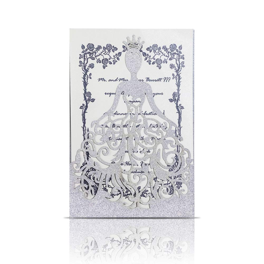 KAZIPA 25PCS Laser Cut Wedding Invitations + White Inside Paper + Envelopes, 4.7'' x 7'' Invitations for Bridal Shower Quinceanera Favor Birthday Bachelorette Party, Silver