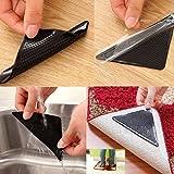 Staron 4 x Triangular Non-slip Accessories Sticker For Home Bedroom Dining Room Carpet Pads Rug Mat Decor, Enhance The Carpet Non-slip Performance (Black)