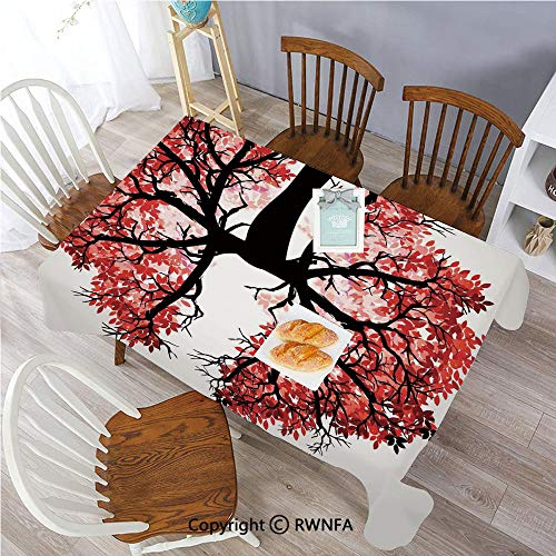 Polyester Washable Table Cover Eco Environment Themed Human Lung Shaped Floral Tree Healthy Lifestyle Nature Indoor Outdoor Party Holiday Birthday Home Picnic Decor(60x104 inch) Red Brown